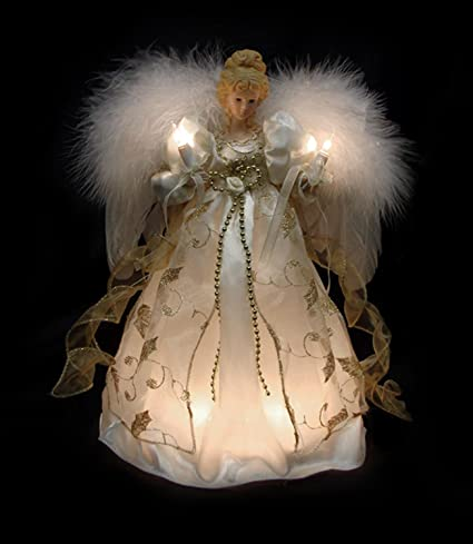 "VCO 12"" Lighted Cream & Gold Angel Christmas Tree Topper ... - Amazon.com: VCO 12"