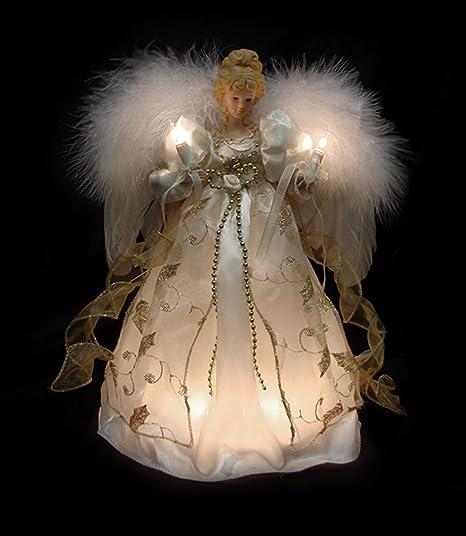 Angel Christmas Tree Topper.Vco 12 Lighted Cream Gold Angel Christmas Tree Topper Clear Lights