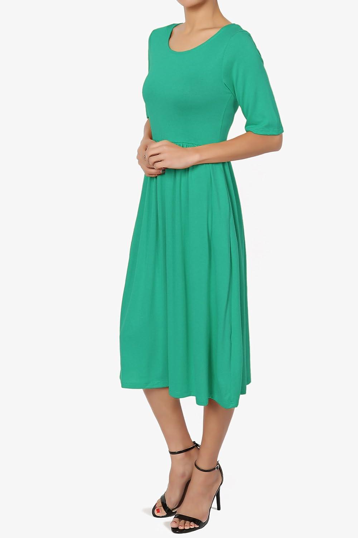 9e6051b90ca99 TheMogan Casual 1/2 Short Sleeve Pleated Empire Waist Fit & Flare Pocket  Dress at Amazon Women's Clothing store: