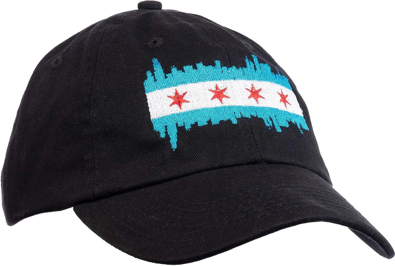 Chicago City Flag Skyline | Chi Pride Baseball Hat Men Women 312 Dad Black Cap