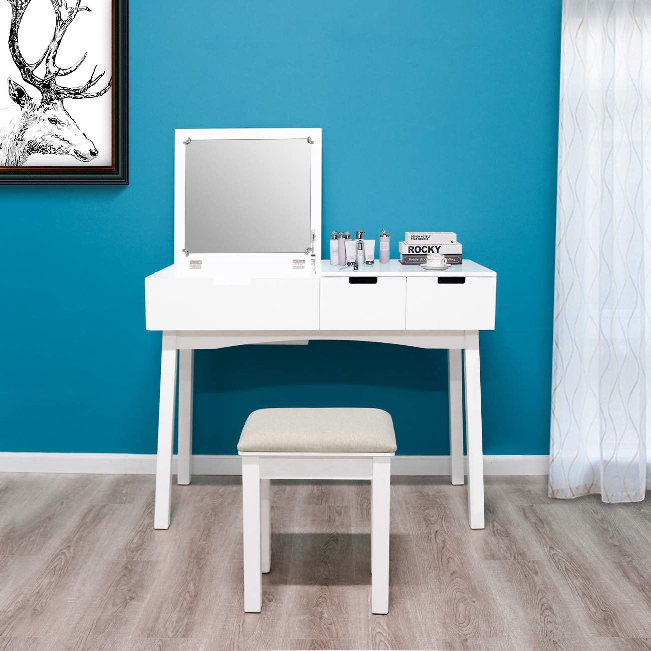 39.17inch Vanity Dressing Table Set with Flip Top Mirror Makeup Table Writing Desk, 2 Drawers 1 Large Storage Space with Drop Organizers, Cushioned Stool Easy Assembly (White)