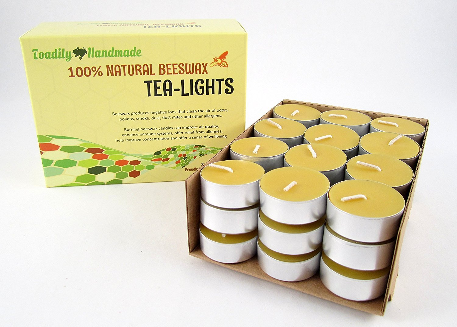 36 Beeswax Tea-Light Candles in NATURAL - Metal Cups - 100% Beeswax Candles Toadily Handmade TeaLights-5M-Natural