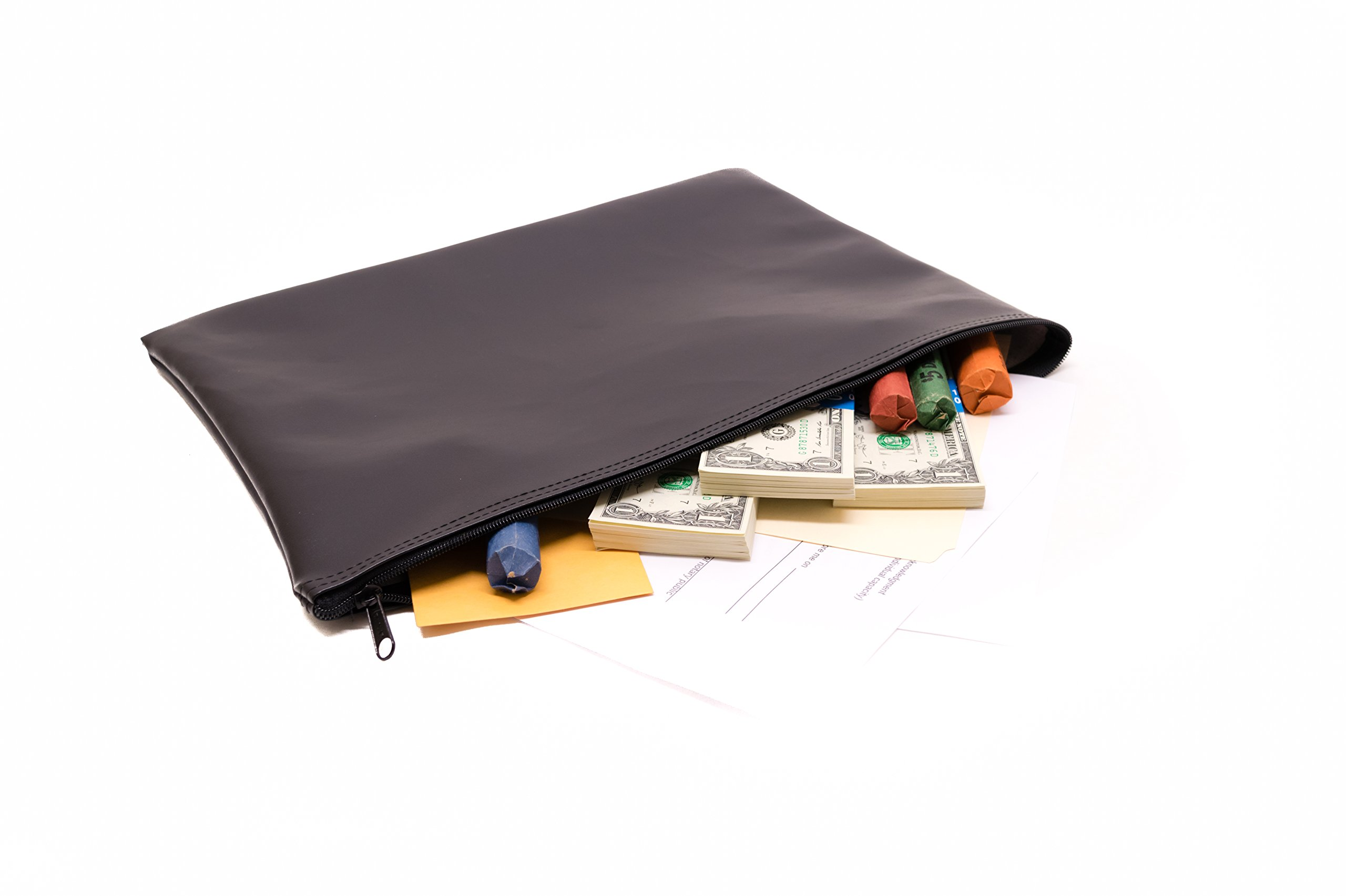 Zipper Bank Deposit Bag 12 X 16 Coin Check Money Wallet Black Pack of 5