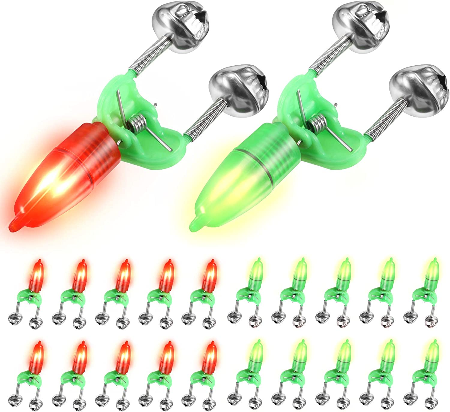 50 Pieces Fishing Double Bells Twin Alarm Bells Rings Rod Clip