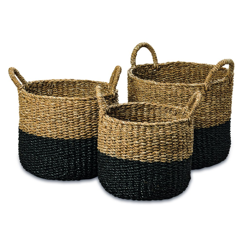 The Cape Cod Seagrass Baskets, Set of 3, Paint Dipped, Chunky Weave, Nautical Gray, Natural, Barrel Belly with Top Handles, 14 - 16 Inches T, By Whole House Worlds