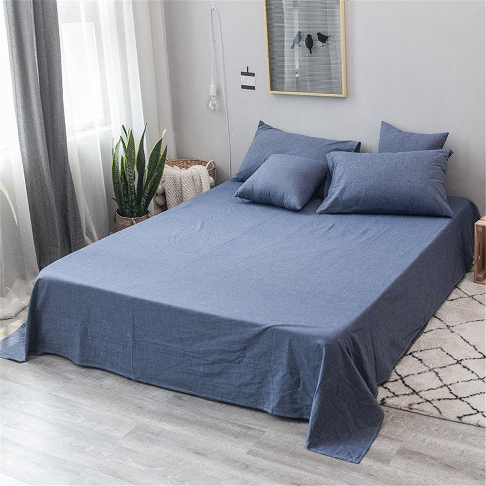 Amazoncom Beddinghome Washed Cotton Flat Sheet Only High Endsoft