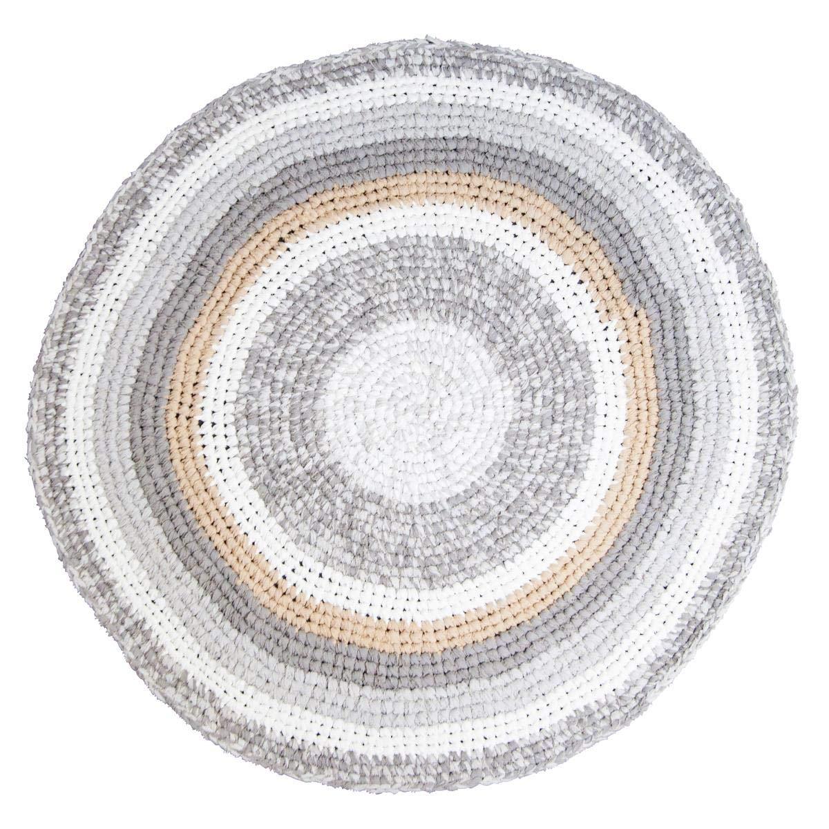 Sebra Kinderzimmer Teppich H/äkelteppich Kinderteppich 120 cm federbeige Melange 100/% Baumwolle