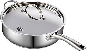 Cooks Standard Classic Stainless Steel Deep Lid 5 Quart/11-Inch Saute Pan, 5 Quart, Silver