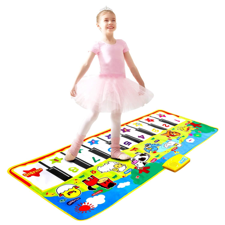 M SANMERSEN Piano Music Mat, Music Dance Mat, Keyboard Play Mat, Animal Blanket Carpet Playmat, Musical Touch Play Game Gifts for Kids Toddlers Girls Boys, 53'' x 23''