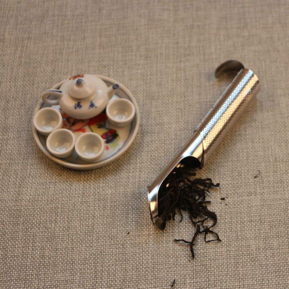 Leoboone 1 Pcs Stainless Steel Mesh Tea Infuser Tea Filter Premium Reusable Pipe Stick Tea Maker with Hook Tea Steeper Strainer