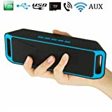 SYL PLUS Moblios SR-525 A2DP Stereo with 6 Hour Playback Time and TF/USB/AUX Audio Port All Smartphones Compatible Wireless Bluetooth Speaker (Blue)