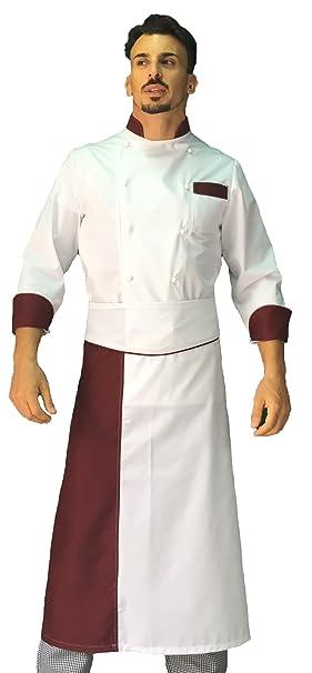 tessile astorino Ricamo Gratuito, Completo Cuoco Chef, Pantalone Giacca e davantino, Vari Colori, Uomo, Donna, Taglie da XS a XXXXL, Made in Italy