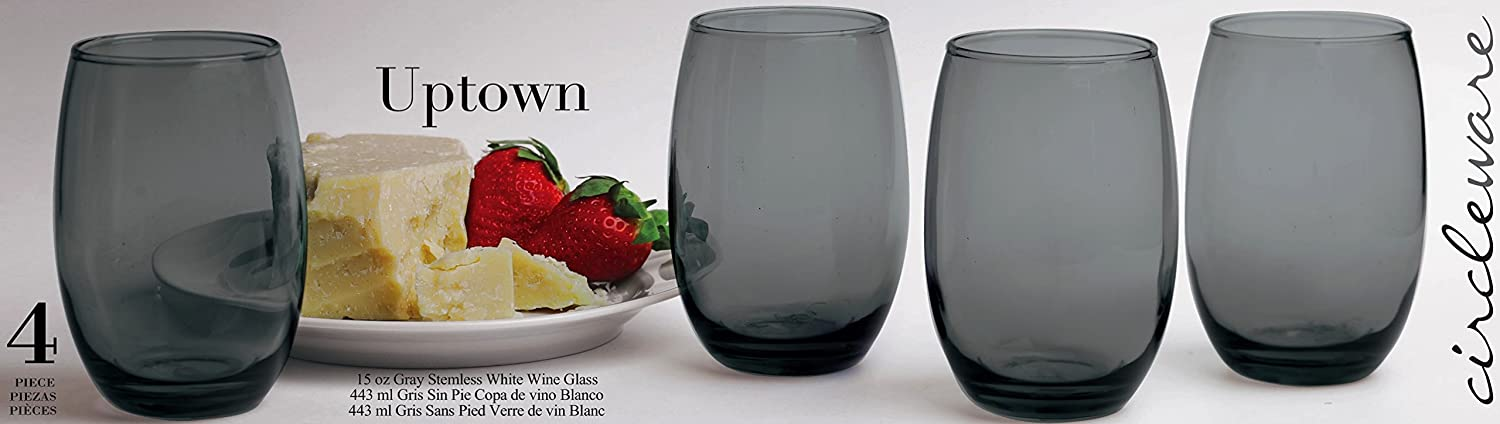 Amazon.com | Circleware Uptown Grey Stemless Red-White Wine Glasse, Set of 4, 11.5 ounce: Wine Glasses