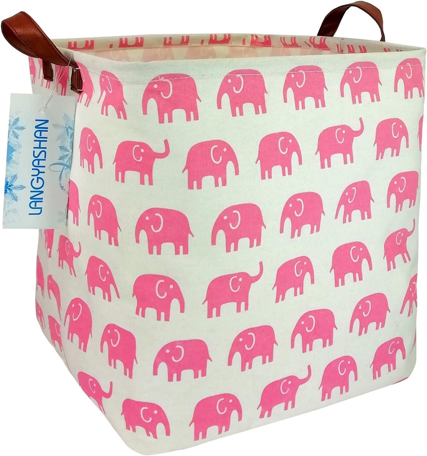 LANGYASHAN Square Storage Bins Waterproof Canvas Kids Laundry/Nursery Boxes for Shelves/Gift Baskets/Toy Organizer/Baby Room Decor (Pink Elephant)