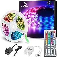 WenTop Tiras LED 5M, Luces LED RGB 5050 Luces Led de Colores con Control Remoto, 20 Colores 8 Modos de Brillo y 6…