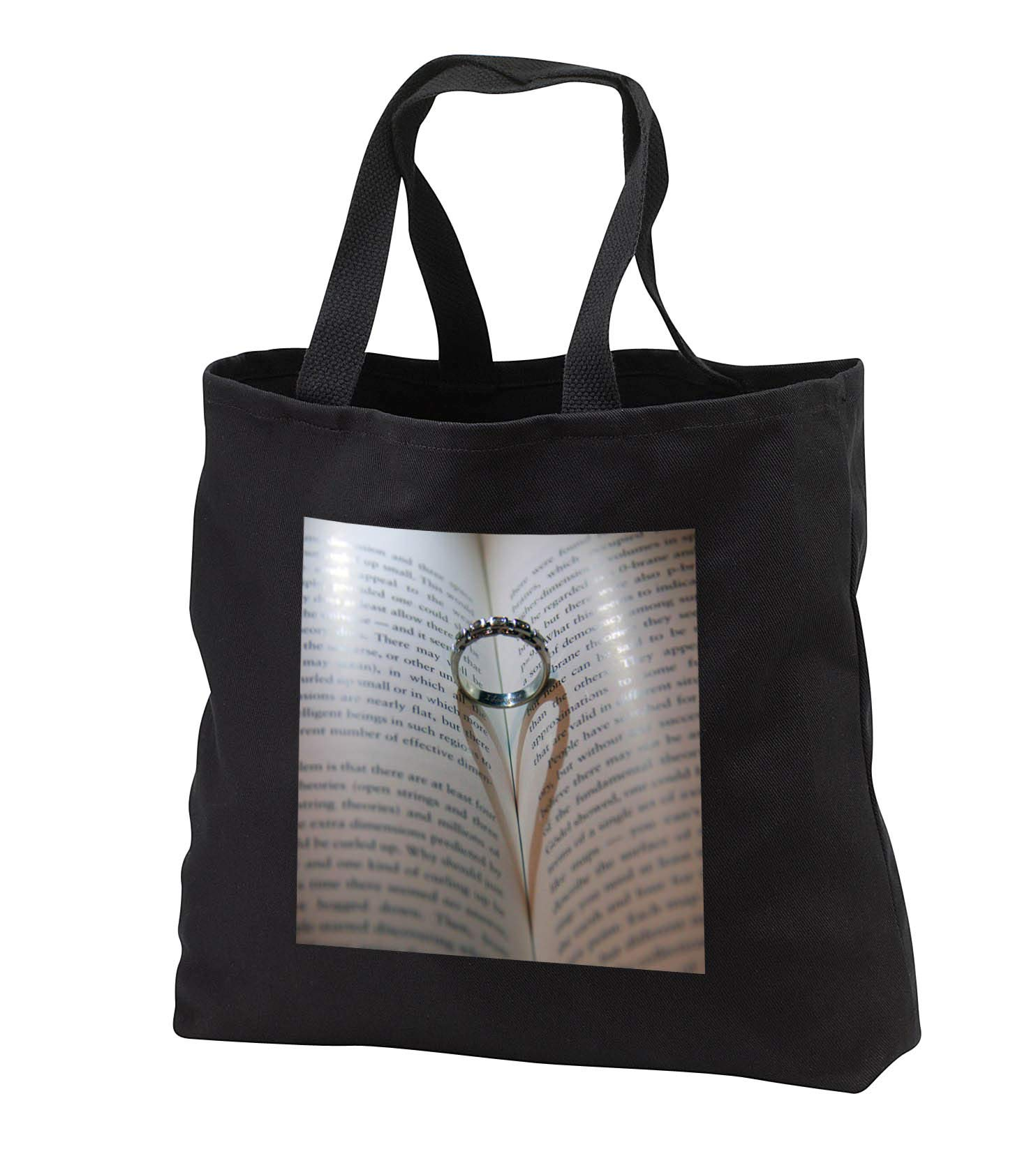 Stamp City - miscellaneous - Photograph of a wedding ring in book where its shadow created a heart. - Tote Bags - Black Tote Bag JUMBO 20w x 15h x 5d (tb_292976_3)