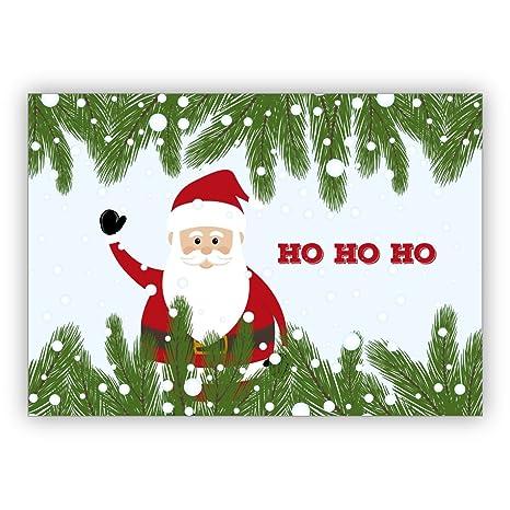 Babbo Natale Ho Ho Ho.Auguri Di Natale Simpatica Cartolina Di Natale Con Salutando Dalla