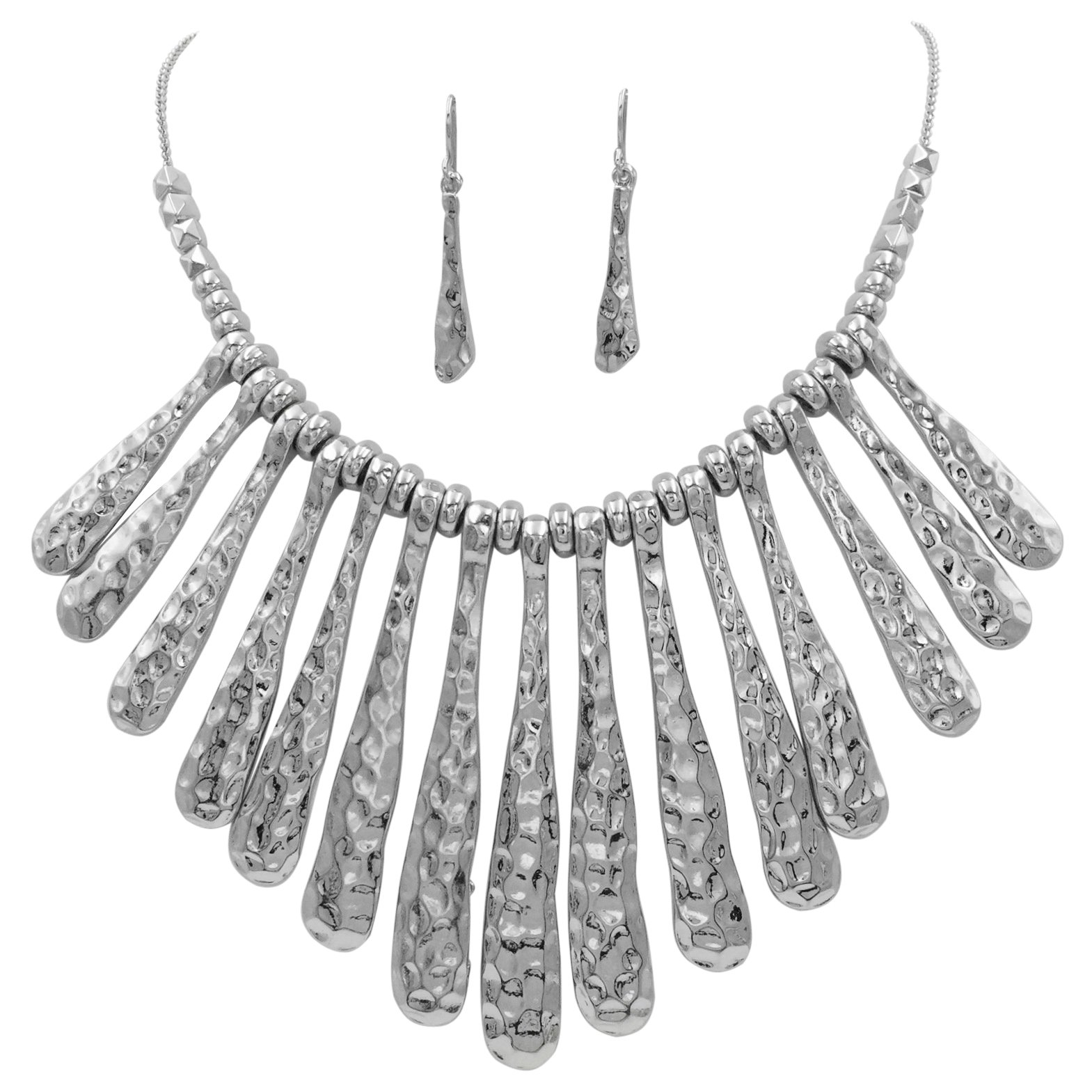 Gypsy Jewels Silver Tone Boutique Style Bib Statement Necklace & Earring Set (Hammered Stick Flair)