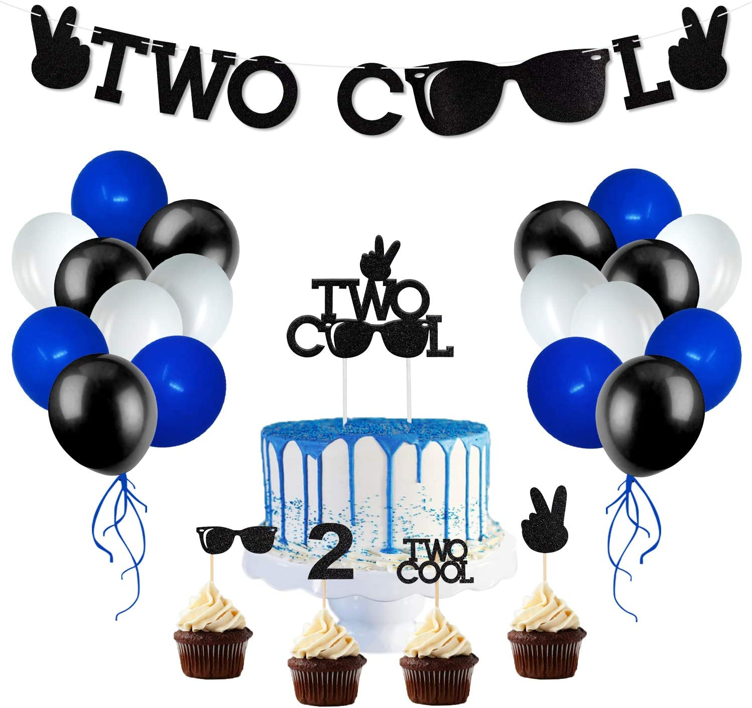 Two Cool Party Supplies Two Cool Sunglasses Banner Cake And Cupcake Toppers Latex Balloons for Little Man Sunglasses 2nd Birthday Boy Party Supplies Decoration