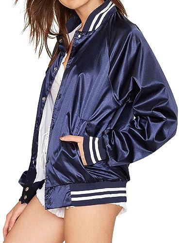Simplee Apparel Women 's Casual de manga larga botón satinado Baseball Varsity Bomber chaqueta de abrigo azul
