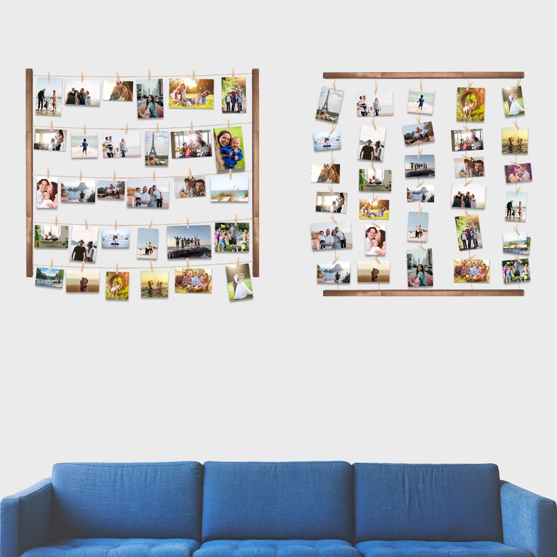 Chambre. Blanc Etagere Murale Corde Porte-Photos P/êle-M/êle avec 24 Clip Decoration Etagere Flottante au Salon Vencipo Murale en Bois pour Affichage Cadre Photo
