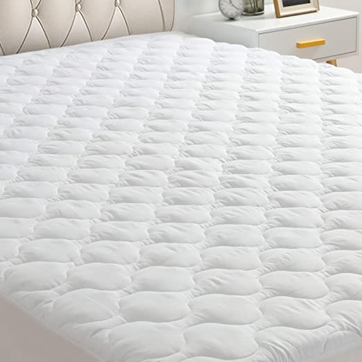"""Bamboo Terry Fitted Mattress Pad Cover Protector Deep Pocket Stretches Up To 16/"""""""