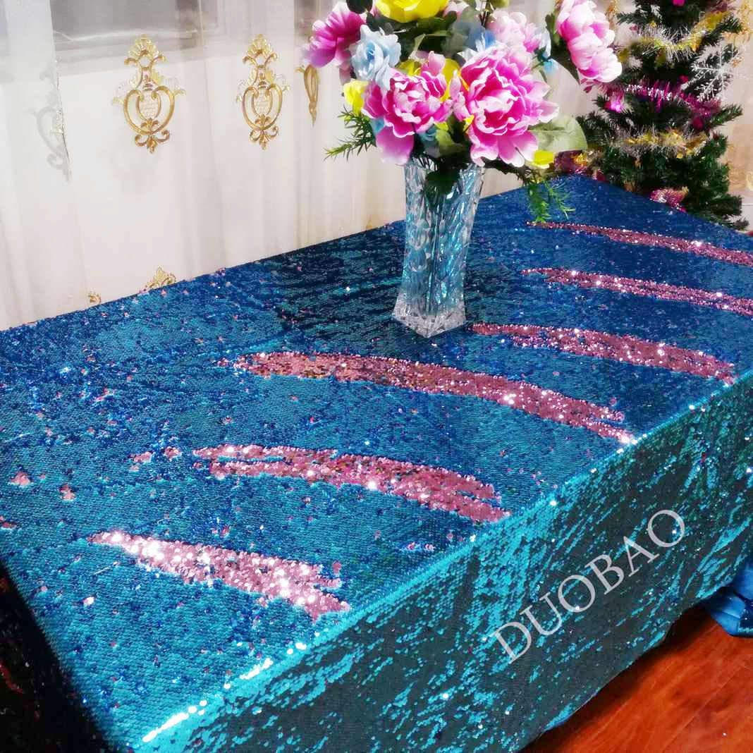 DUOBAO 72x108-InchRectangleSequinTableclothAqua to Pink Mermaid Sequin Table Cover Glitter Table Cloths for Wedding/Party/Kitchen decorations-0612H