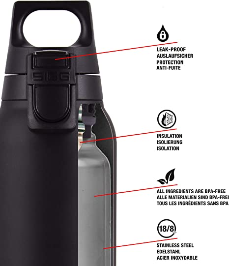 0.5 L SIGG Hot /& Cold ONE Black Thermal Water Bottle One-Hand Use Stainless Steel Water Bottle Pollutant-Free and Insulated Thermos Flask