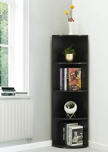 Basicwise Wall Corner 4 Tier Shelves Bookcase