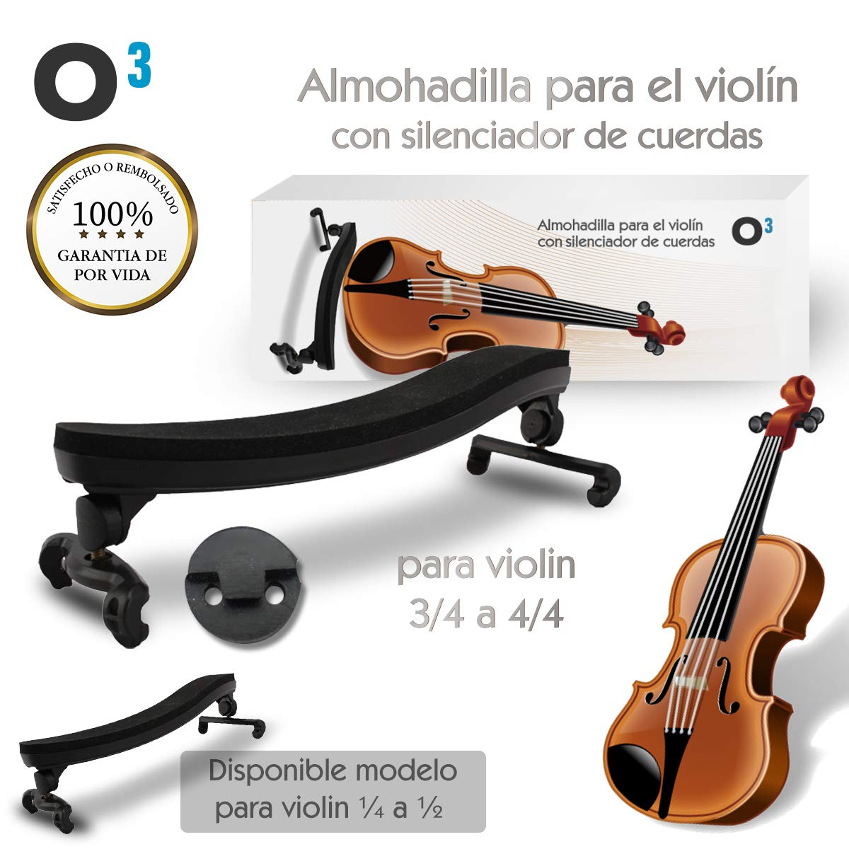 O³ Almohadilla Violin 3/4 a 4/4 Ajustable Para Violin – Con Silenciador De Cuerdas | Soporte Para Violin – Respaldo de Hombro Tamaño Grande De Goma Alcochado | Para Principiantes y Profesionales product image