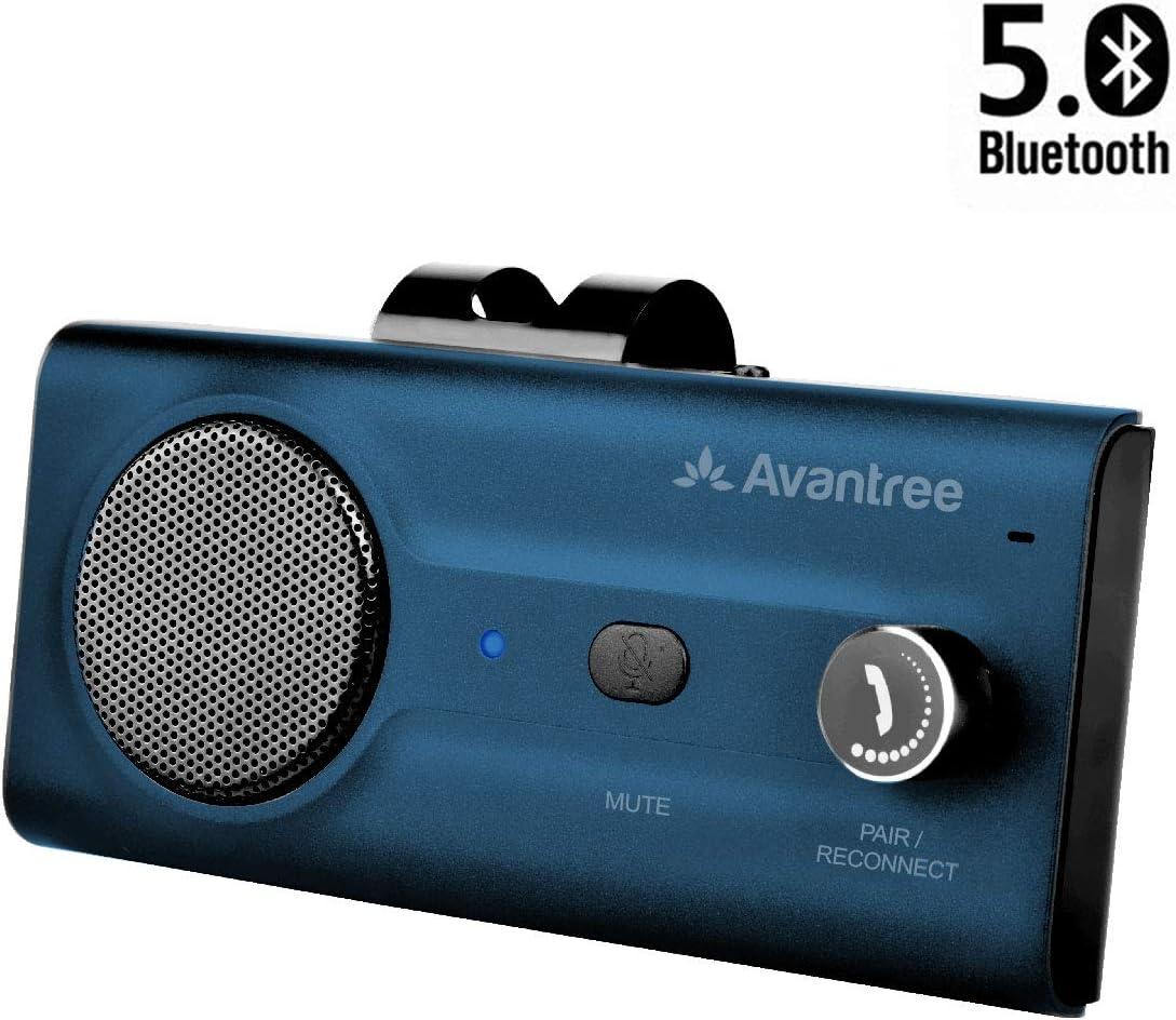 2020 Avantree CK11 Bluetooth 5.0 Kit Manos Libres para Coche, Altavoz Fuerte, Conecta con Siri, Google Asistente, Movimiento Automático Activado, Botón de Volumen, Inalámbrico para Visera - Azul