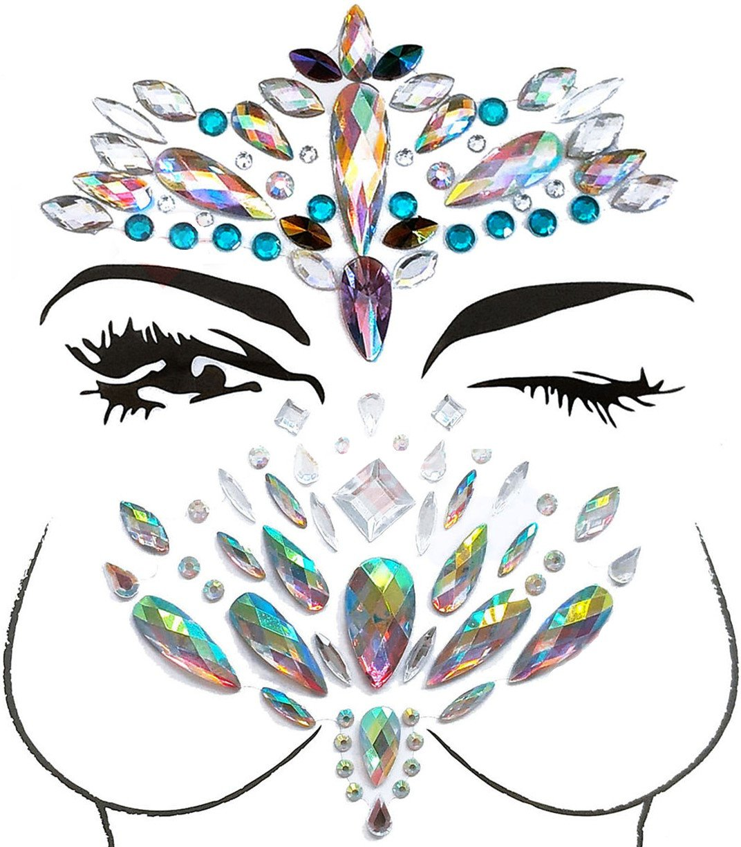 MineSign 8 Pack Face Jewels Festival Tattoo Set Face Gems Glitter Bindi Costume Makeup Rhinestone Eyes Body Rave Pasties for Party Roller (Mermaid Face Chest Kit) by MineSign (Image #6)