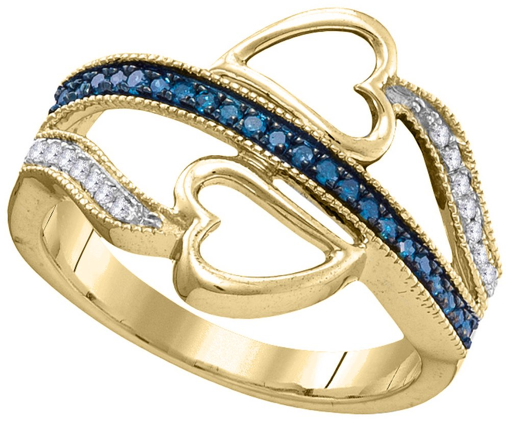 10kt Yellow Gold Womens Round Blue Colored Diamond Double Heart Love Ring 1/5 Cttw (I2-I3 clarity; Blue color)