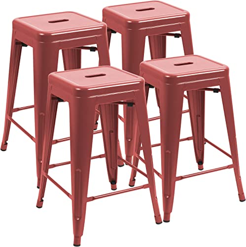 Reviewed: JUMMICO Metal Bar Stool 24 Inches Indoor Outdoor Industrial Barstools Stackable Counter Height Modern Vintage Backless Bar Stools Set of 4 Red