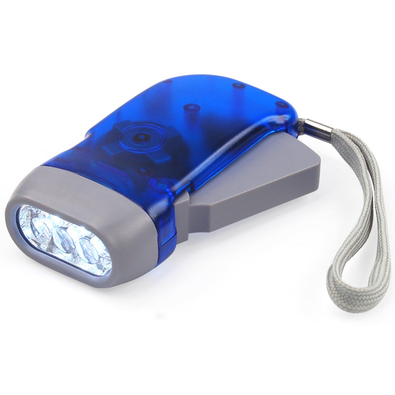 DIGIFLEX Linterna Eléctrica 3 LED de Mano sin Pilas con manivela de Viento para Acampada de Supervivencia AA88