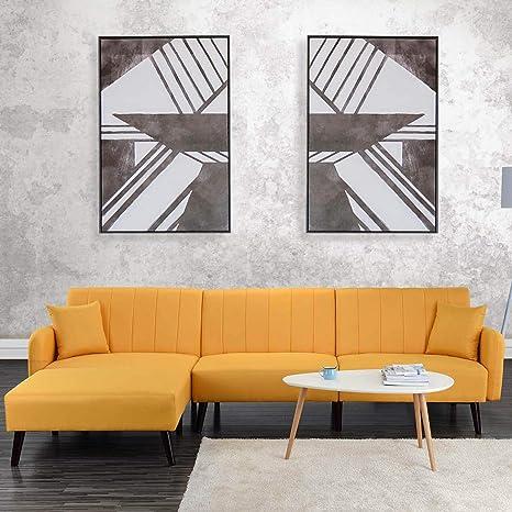 Amazon.com: Sofá futón estilo moderno de lino ...