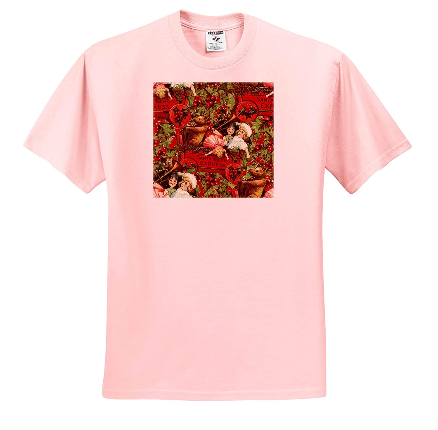 T-Shirts 3dRose Andrea Haase Christmas Illustration Pattern with Toys and Holly Nostalgic Christmas Art