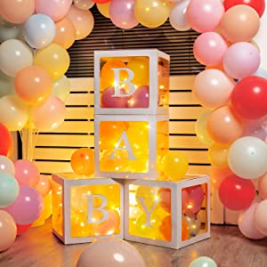 Baby Shower Balloons Boxes 4 Pieces Transparent Balloon Blocks with LED Firefly String Lights, Macaron Rainbow Balloons for Gender Reveal Baby Shower Birthday Party Decorations
