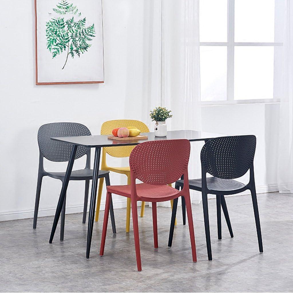CJH Chaises de Dossier Creux Chaises de Salle à Manger de ménage Chaises Chaises de café Occasionnels élégant Tabourets de Plastique épaississement Simple (Color : Grey) Grey