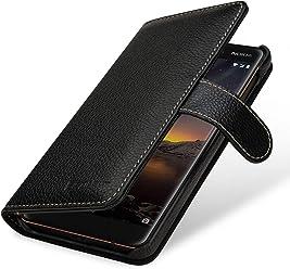 StilGut Talis Housse Nokia 6.1 avec Porte-Cartes en Cuir véritable. Etui Portefeuille pour Nokia 6.1 à Ouverture latérale et Languette magnétique, Noir
