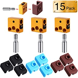 3 Packs 3D Printer Aluminum Heater Block with 3 Heat Break Nozzle 9 Silicone Cover Sock for 3D Printer Compatible with MK7/8/9 3D Printer Hotend Extruder, Creality CR-10, 10S, S4, S5, Ender 3, Anet A8