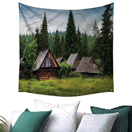 Amazon.com: Luckyee Scenery Square Tapestry Old Vintage ...