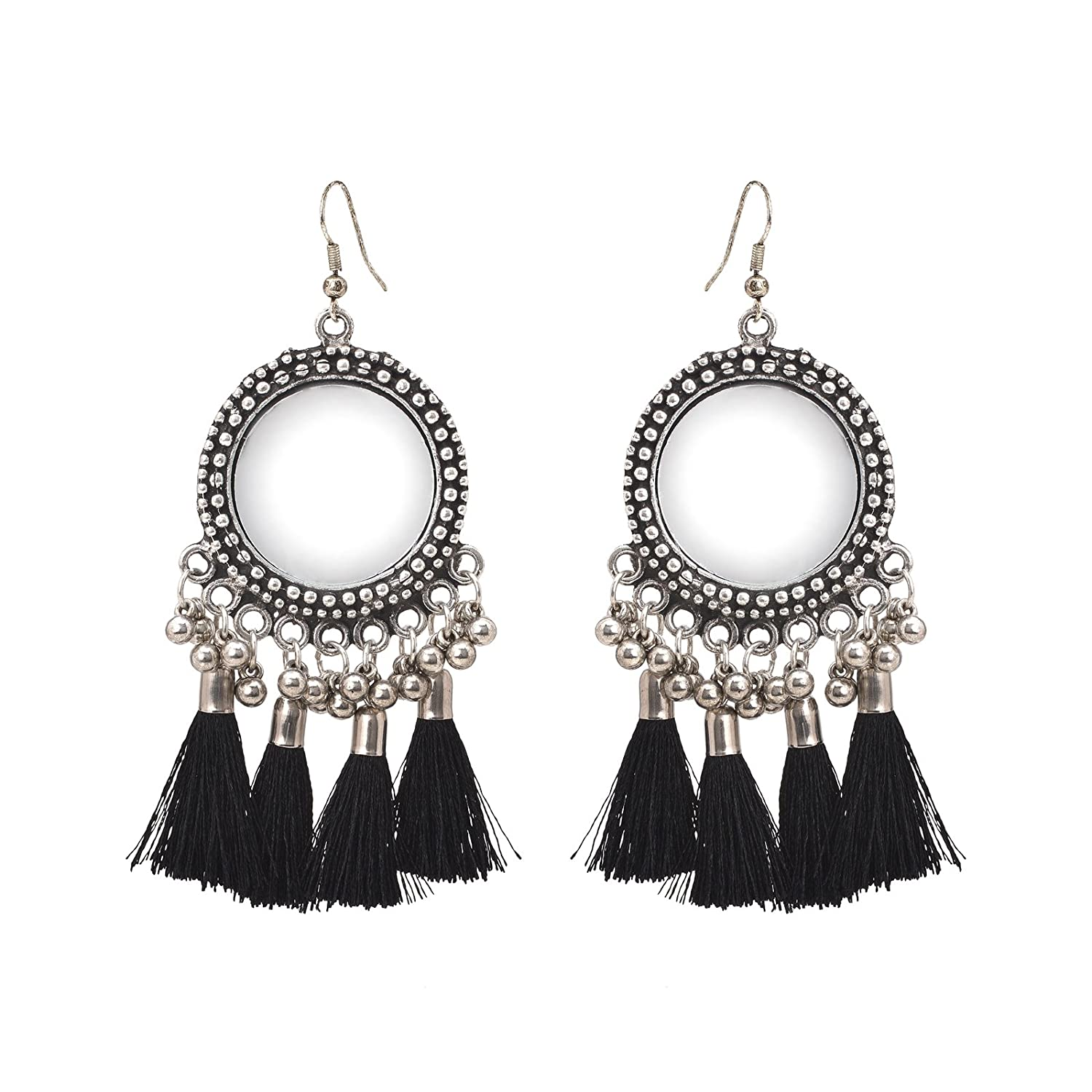 Color Lane Combo Tibetan Oxidized Silver Drop//Hook Earrings Set Of 2 Black Tassels Work CO-1164