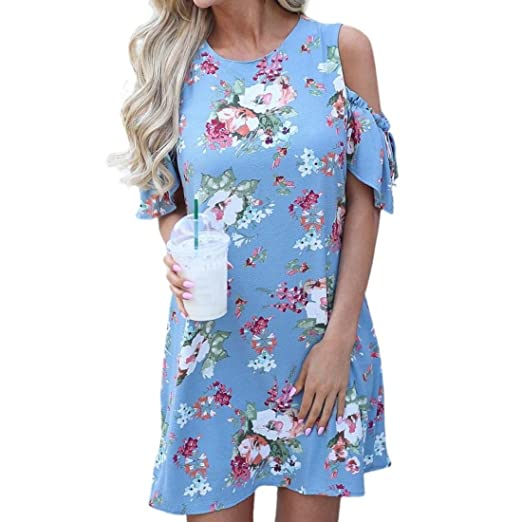 2b865d1d0c9 Amazon.com: Women's Off Shoulder Mini Dress Short Sleeve Floral Print Party  Beach Dress: Clothing