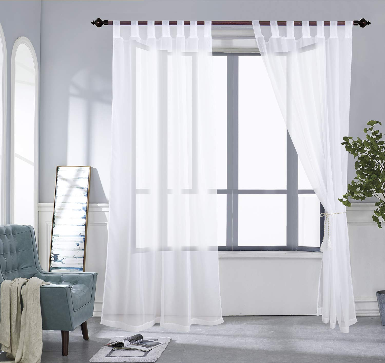 PRAVIVE Outdoor Sheer Curtains 84 - Waterproof Tab Top Indoor Outdoor Curtains Patio Privacy White Sheer Drapes Blinds for Porch/Deck/Pergola with 2 Tiebacks, W54 x L84 Inches, 2 Panels by PRAVIVE (Image #2)