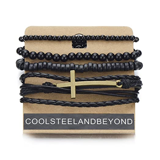 COOLSTEELANDBEYOND Mix of 4 Brown Wrap Bracelets for Men and Women, Multi-strand Wood Beads Leather Wristbands