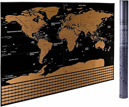 Scratch Off World Map 60cm * 82cm mapa del mundo de viajes ...