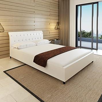 festnight lit capitonn en cuir artificiel blanc 140 x 200 cm avec matelas - Lit Capitonne