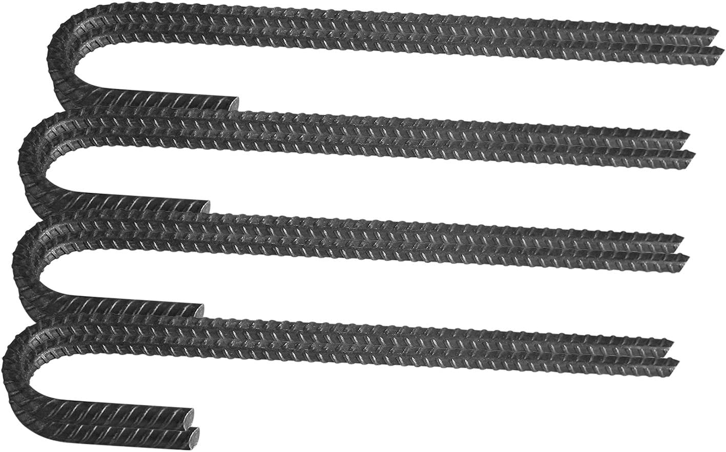 Pinnacle Mercantile 8 Pack Rebar Stakes J Hook Heavy Duty Steel Ground Anchors 12 inch Chisel Point End Made USA