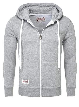 f5a5b6738d68 Akito Tanaka Herren Sweatjacke Zip Hoodie Sweatshirt 18110 Sweater mit Kapuze  Reißverschluss slim fit kontrast look  Amazon.de  Bekleidung